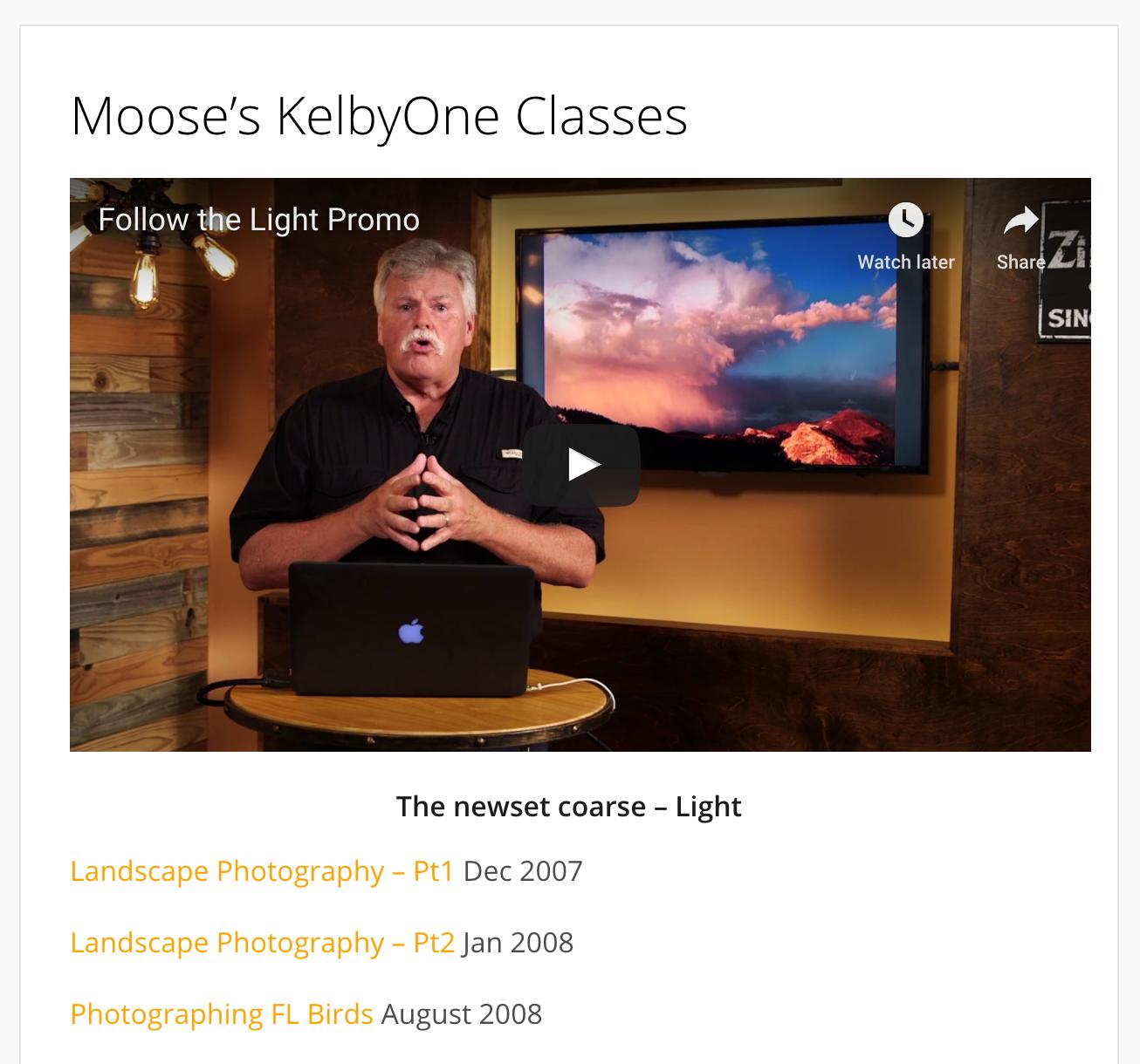 Moose's KelbyOne Class List