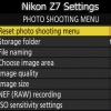 My Initial Z7 Settings