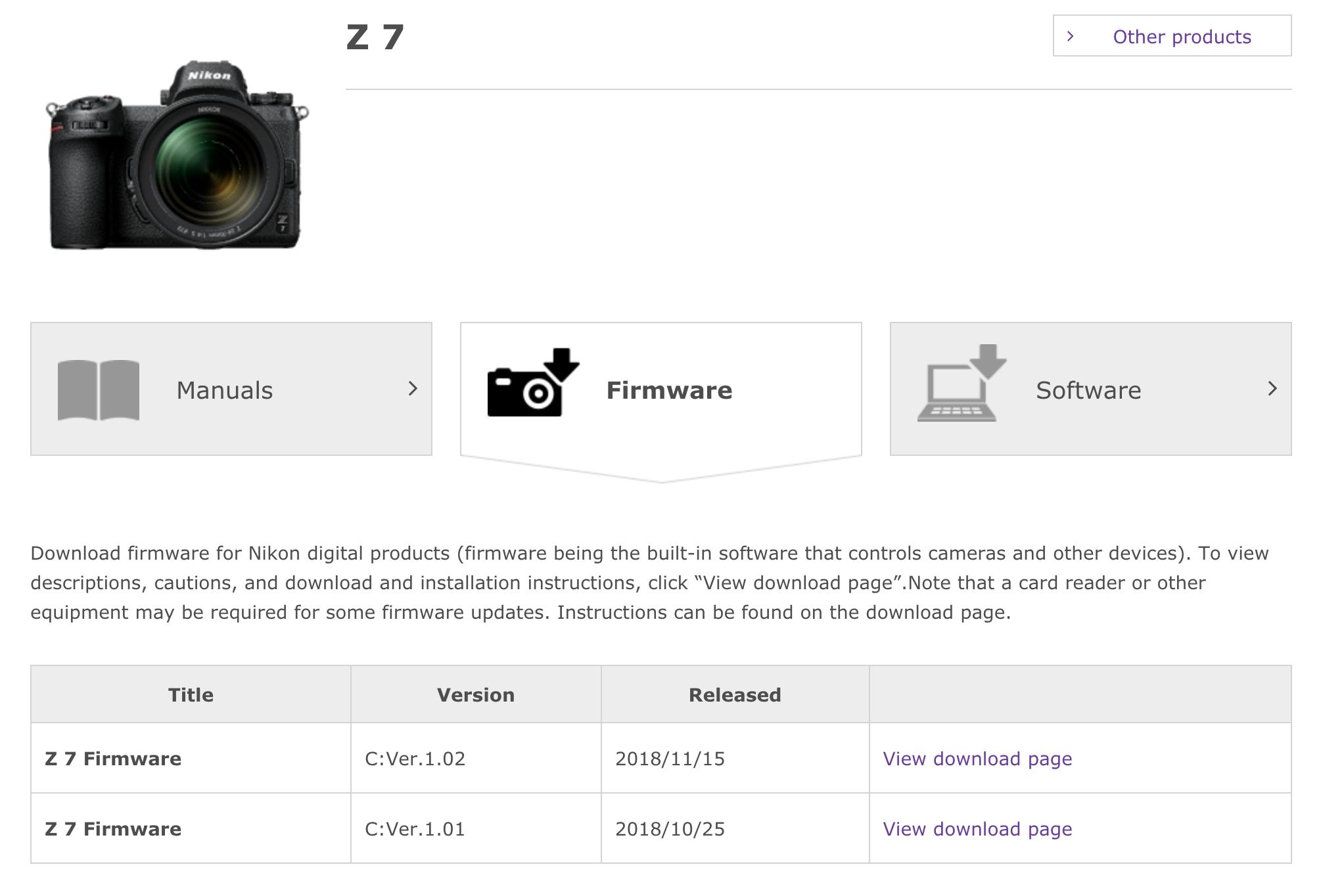 Z7 Firmware Update