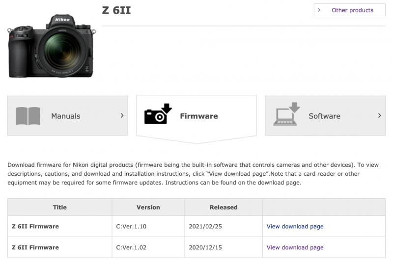 Z 6II & Z 7II Firmware Update